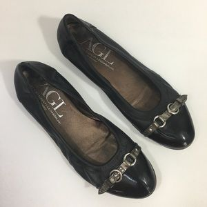 AGL Ballet Flats Black Leather Italy 40.5 US 10.5